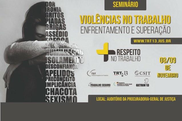 """TRT promove seminário para  discutir """"Violências no Trabalho"""""""