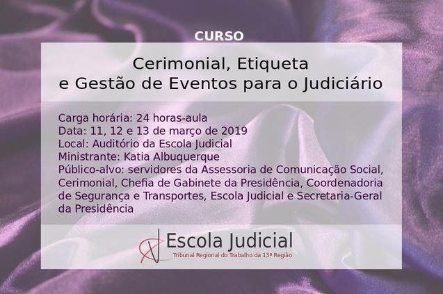Curso: Cerimonial, Protocolo, Etiqueta e Gestão de Eventos