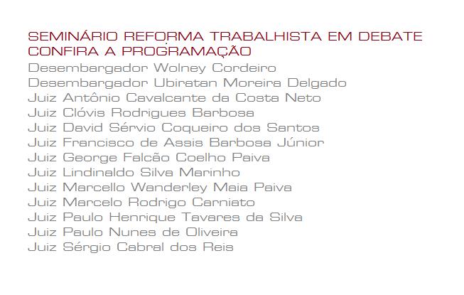 """Programação do Seminário """"Reforma Trabalhista em Debate"""", em João Pessoa"""