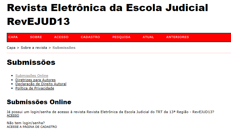 Revista da Escola Judicial abre chamada para artigos