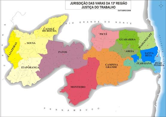 Mapa da paraíba, dividido pelas jurisdições do trt 13ª região